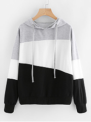 Hooded  Drawstring  Color Block Colouring  Long Sleeve Hoodies