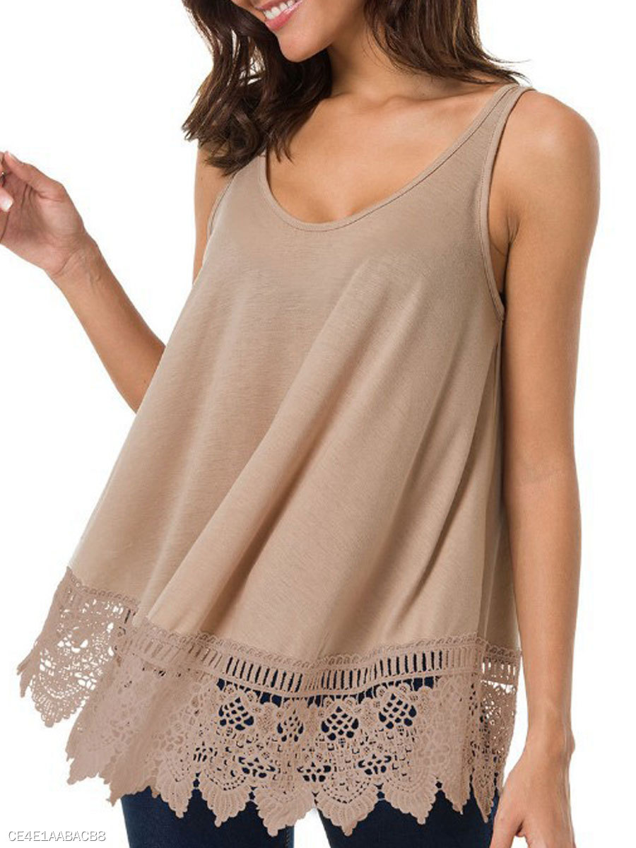 Summer  Cotton  Women  Round Neck  Backless Decorative Lace  Plain Sleeveless T-Shirts