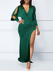 V-Neck  Slit  Plain Split Sleeve Maxi Dress