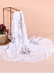 Women Grace Floral Printed Chiffon Scarves Flower Voile Shawls
