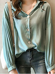 Autumn Spring  Polyester  Women  Turn Down Collar  Plain  Long Sleeve Blouses