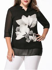 V-Neck-Floral-Hollow-Out-Chiffon-Plus-Size-Blouse