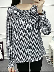 Autumn Spring  Cotton  Women  Round Neck  Flounce  Plaid  Long Sleeve Blouses