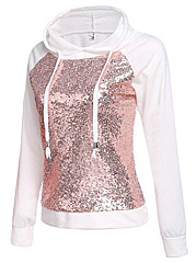 Sequin Color Block Raglan Sleeve Hoodie