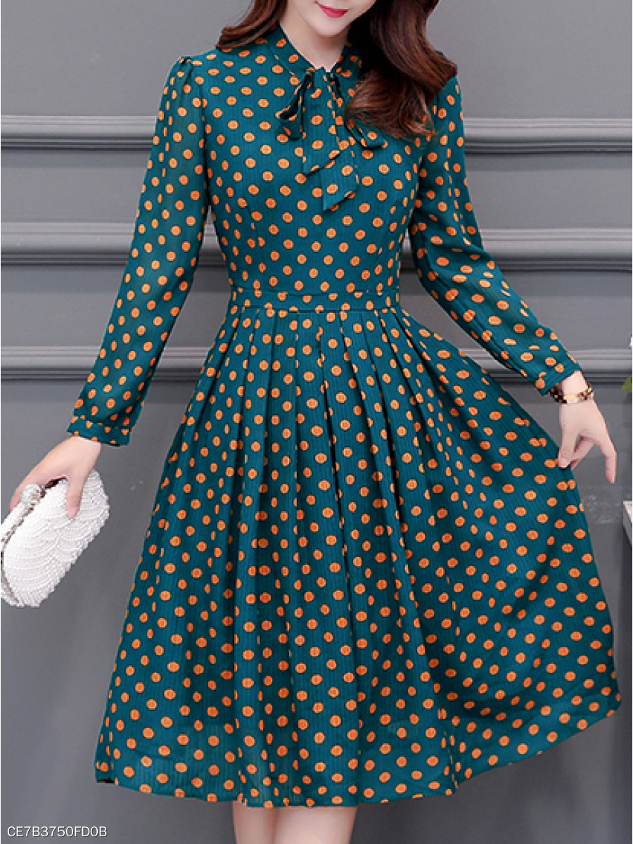 Tie Collar  Ruched  Polka Dot Skater Dress