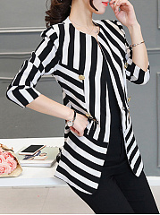 Collarless  Chain  Striped  Long Sleeve Blazers