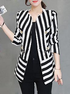 Collarless Chain Striped Long Sleeve Blazers