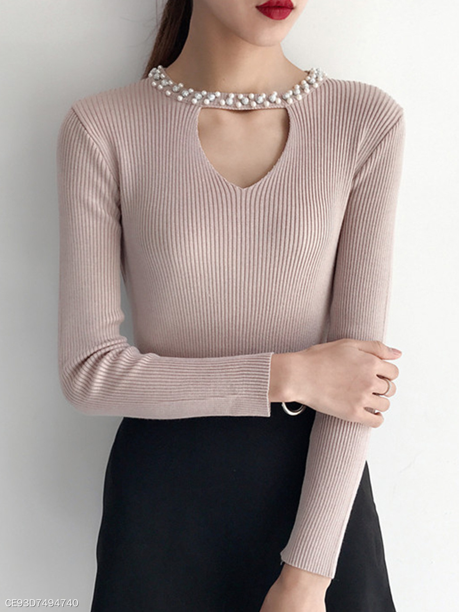 Round Neck  Beading  Plain Knit Pullover