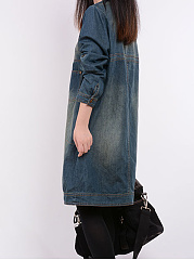Round Neck  Patch Pocket  Plain  Denim Shift Dress