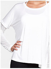 Patchwork Hollow Out Plain Round Neck Long Sleeve T-Shirt
