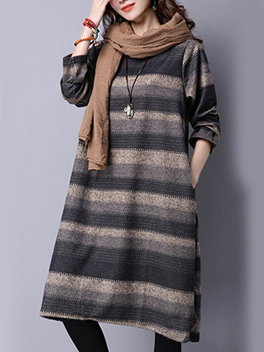 Round Neck Striped Pocket Loose Maxi Dress