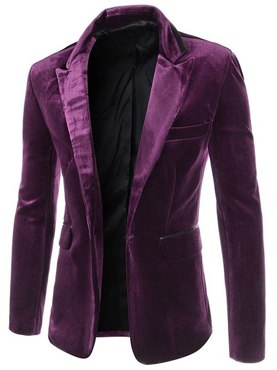 Men Plain Velvet Notch Lapel Single Button Blazer