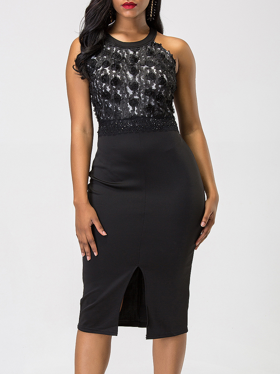 Round Neck Applique Rhinestone Slit Midi Bodycon Dress