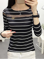 Autumn Spring  Polyester  Women  Round Neck  Patchwork See-Through  Striped Long Sleeve T-Shirts