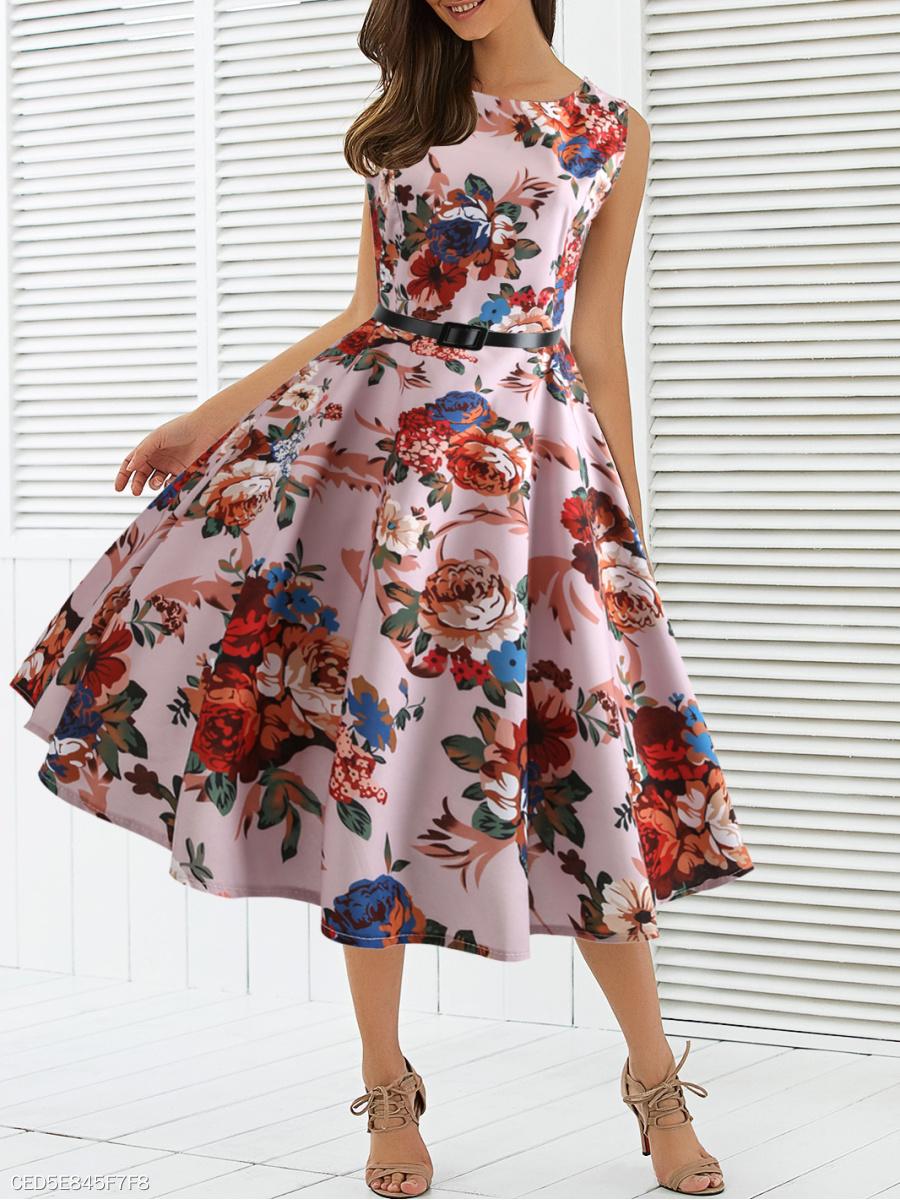 539a6f2be66c Round Neck Floral Printed Skater Dress - fashionMia.com
