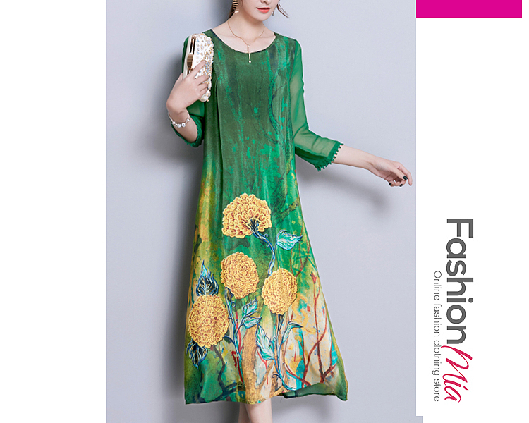 style:fashion, material:polyester, collar&neckline:round neck, sleeve:three-quarter sleeve, pattern_type:printed, length:midi, how_to_wash:cold gentle machine wash, supplementary_matters:all dimensions are measured manually with a deviation of 2 to 4cm., occasion:casual, season:autumn,winter, dress_silhouette:shift, package_included:dress*1, lengthshoulderbust