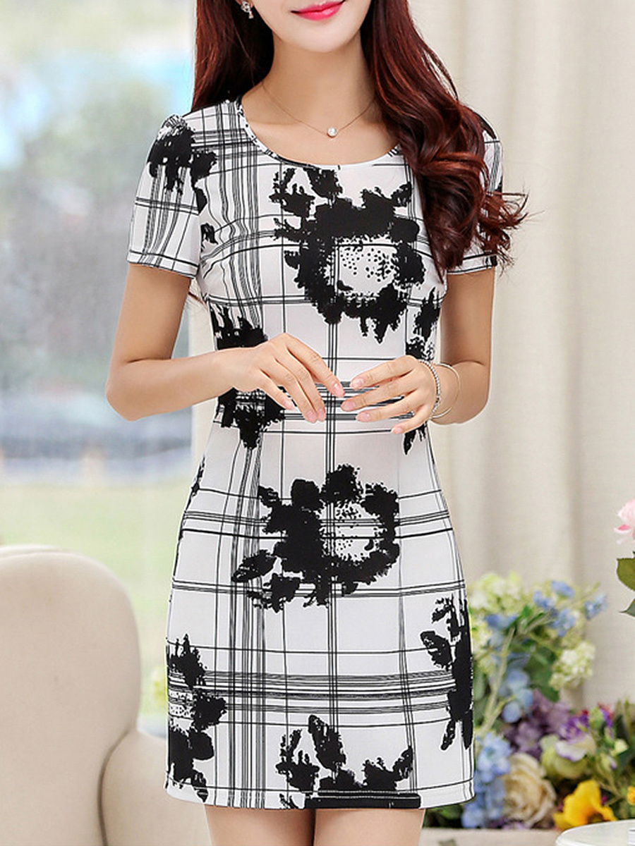 Black White Printed Round Neck Bodycon Dress