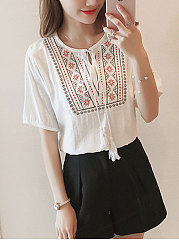 Spring Summer  Cotton  Women  Tie Collar  Embroidery Short Sleeve T-Shirts