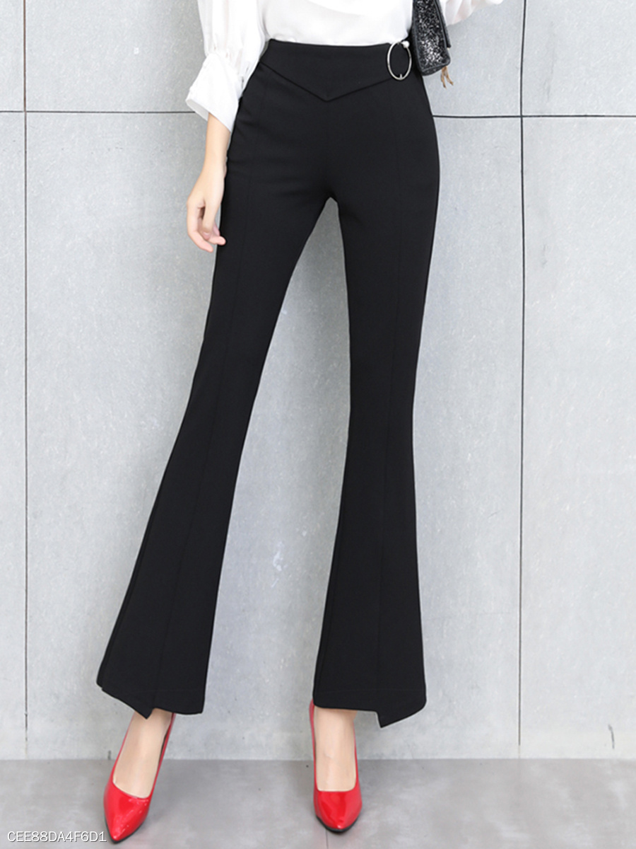 Fitted Plain Pocket Flared Pants