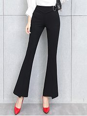 Fitted-Plain-Pocket-Flared-Pants
