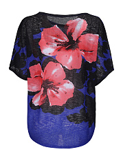 Casual Loose Color Block Floral Plus Size T-Shirt