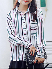 Autumn Spring  Cotton  Women  Turn Down Collar  Patch Pocket  Striped  Long Sleeve Blouses