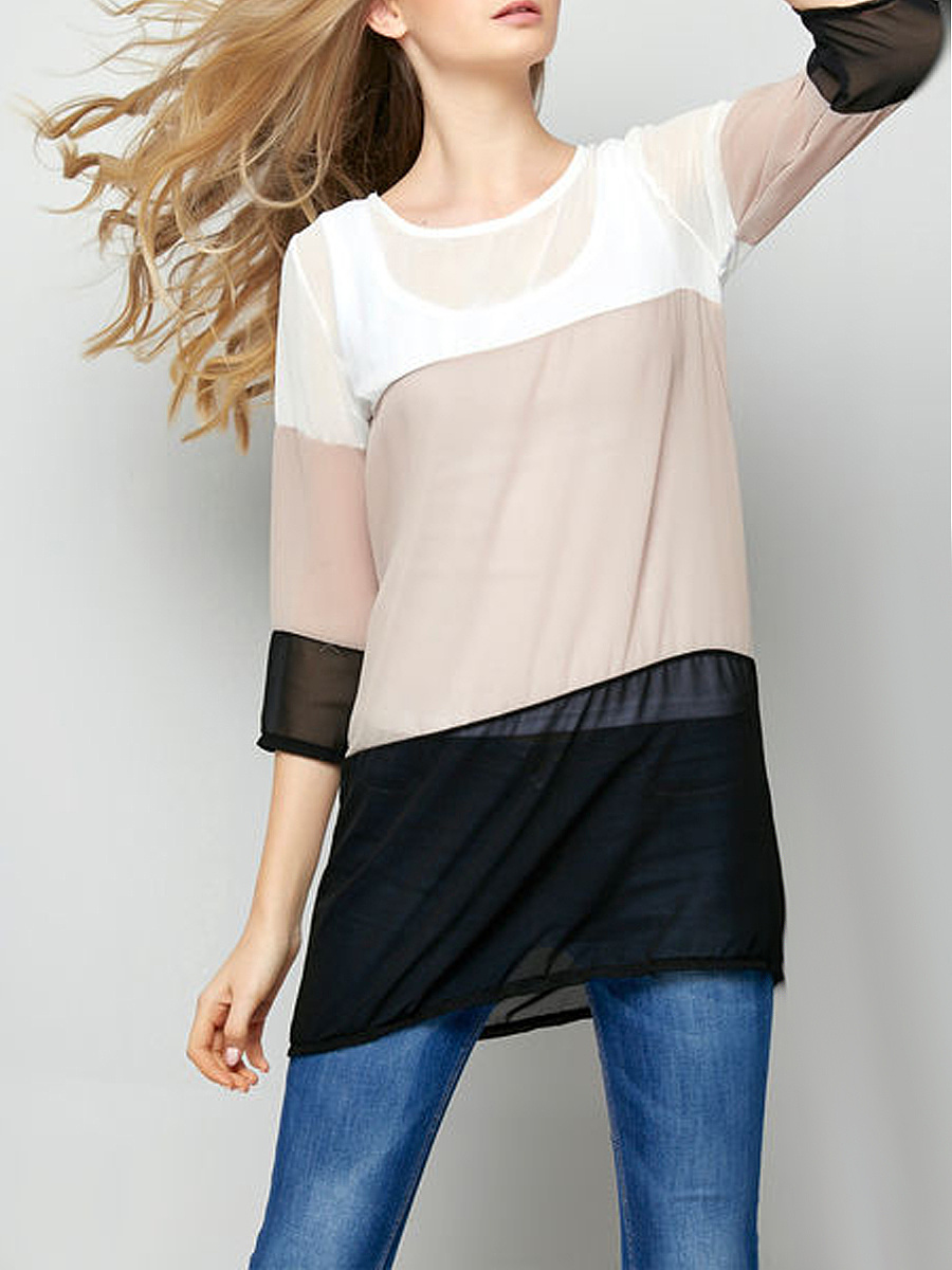 Attractive Round Neck Assorted Colors Shift-dres