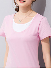 Summer  Cotton  Women  Round Neck  Patchwork  Plain Short Sleeve T-Shirts