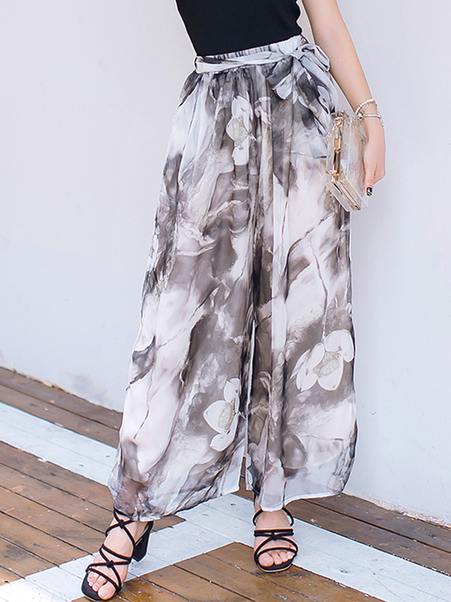 Pocket Belt Printed Chiffon Wide-Leg Casual Pants