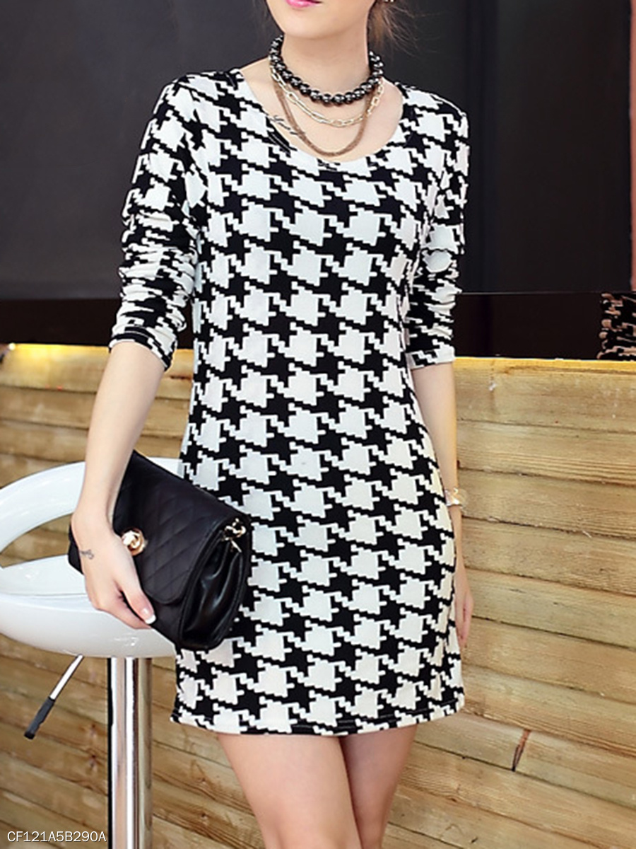 Round Neck  Houndstooth  Blend Bodycon Dress