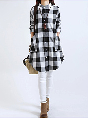 Autumn New Korean Version Of The Long Section Of Long-Sleeved Cotton And Linen Art Black And White Loose Skirt  Shift Dress