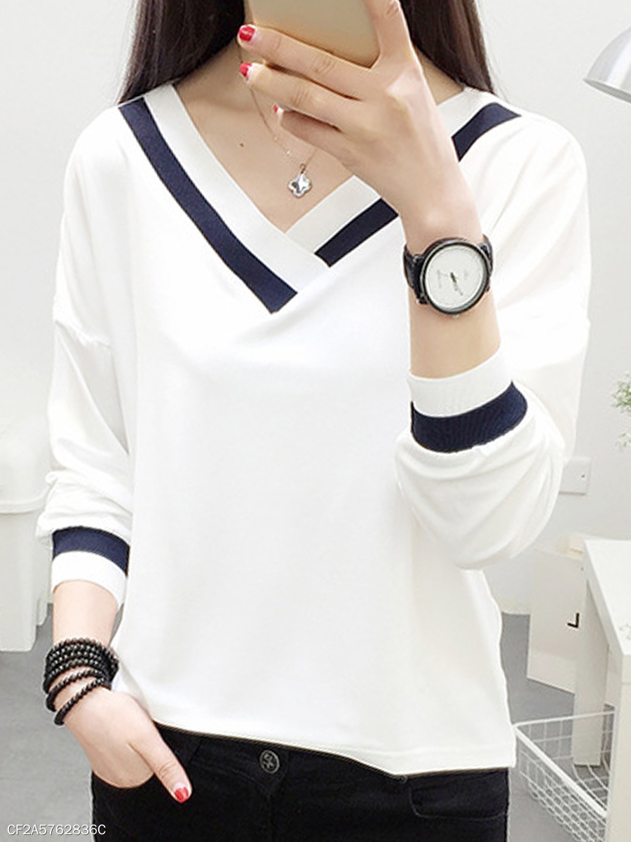 Autumn Spring Summer  Polyester  Women  V-Neck  Contrast Piping  Plain Long Sleeve T-Shirts