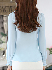 Tie Collar  Ruffle Trim  Keyhole  Plain Blouse