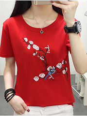 Polyester  Round Neck  Embroidery Plain  Short Sleeve Short Sleeve T-Shirts