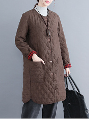 Round Neck  Single Breasted  Plain  Long Sleeve Coats