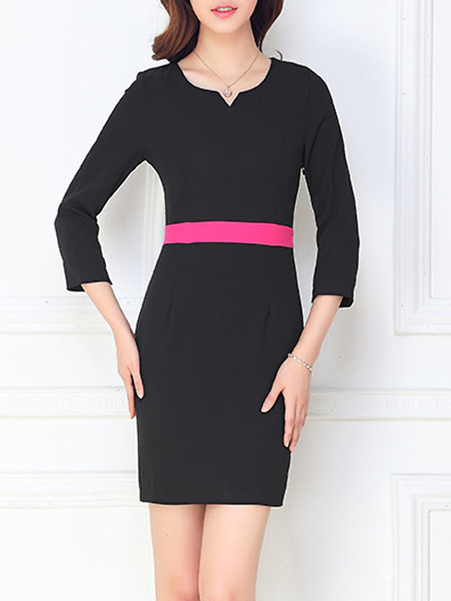 Split Neck Color Block Bodycon Dress