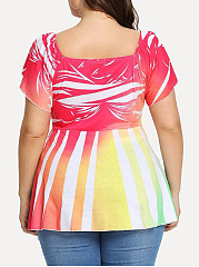 V-Neck  Asymmetric Hem  Printed  Short Sleeve Plus Size T-Shirts