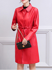 Fold-Over Collar  Drawstring Single Breasted  Plain  Long Sleeve Coats