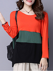 Round Neck  Loose Fitting Patchwork  Color Block Long Sleeve T-Shirts