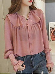 Round Neck  Loose Fitting  Plain  Petal Sleeve Blouses