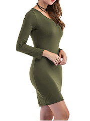 Round Neck  Cutout  High Stretch  Plain Bodycon Dress