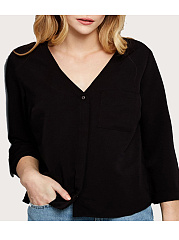 V-Neck  Plain  Half Sleeve Plus Size Blouses