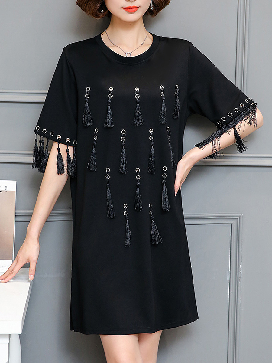 Round Neck Tassel Plain Shift Dress