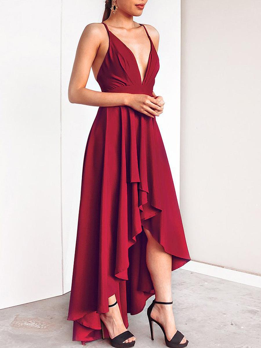 Spaghetti Strap Plain High-Low Evening Dress