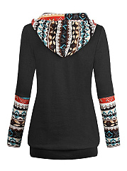 Autumn Spring  Cotton Blend  Patchwork  Bohemian Plain  Long Sleeve Hoodies