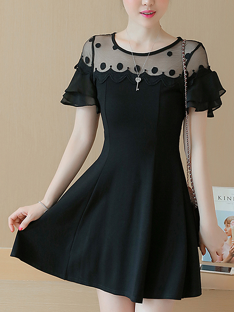 Bell Sleeve See-Through Plain Mini Skater Dress