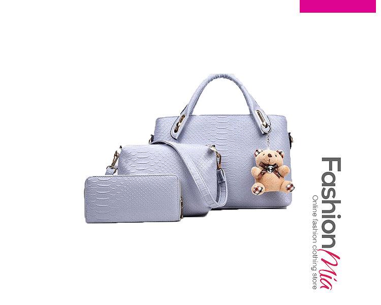 Three Pieces Decrotive Teddy Bear Plain Shoulder Bags For Women