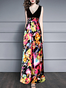 V-Neck  Colouring Floral Printed Maxi Dress
