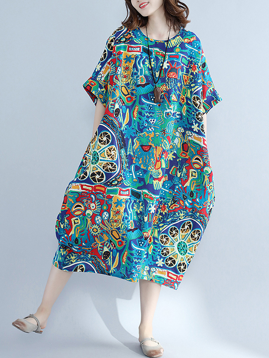 Oversized Round Neck Printed Maxi Dress