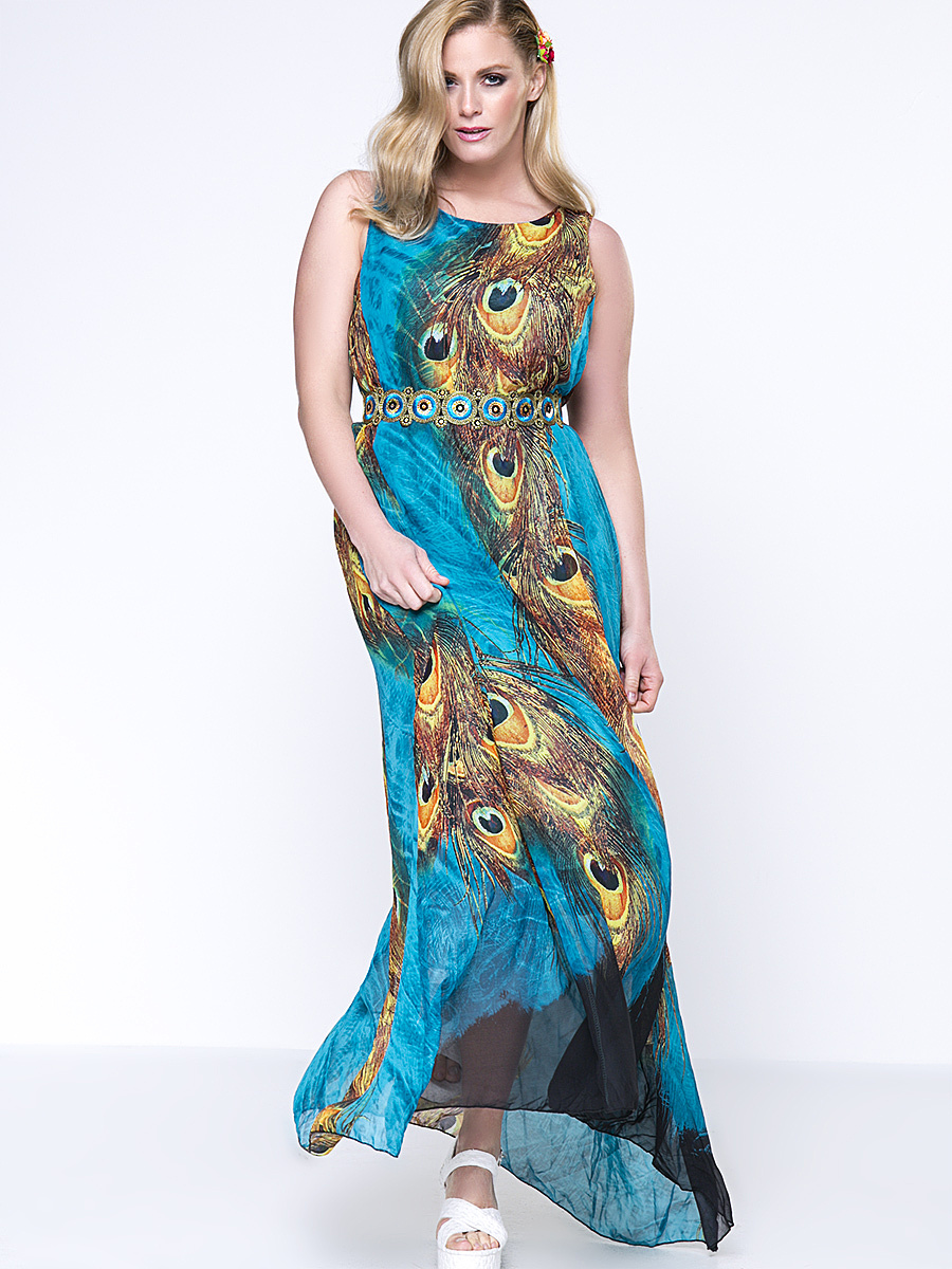 Gorgeous Round Neck Feather Printed Chiffon Plus Size Maxi Dress